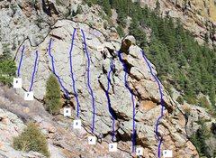 Rock Climbing Photo: Info taken from Eldorado Canyon guidebook:  1. Don...