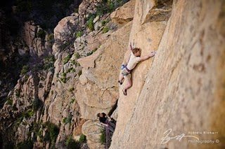 Andy Patterson enters the lower crux of Broken Mirror. The climb follows the small, right-trending dihedral.