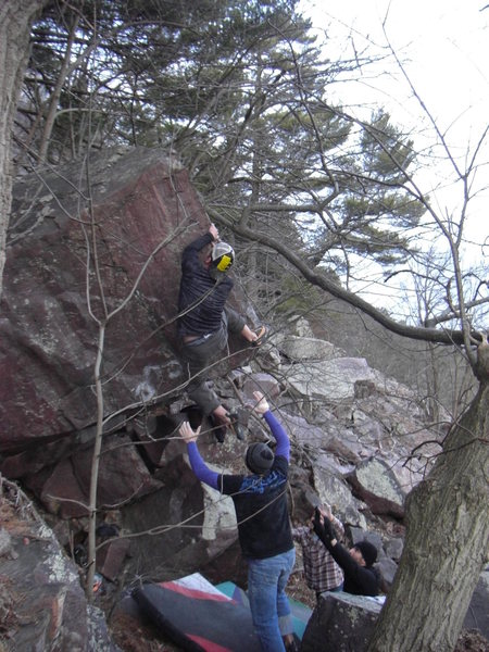 Vinny moving up the arete.