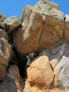 Rock Climbing Photo: Climb starts where David is and ends just over the...