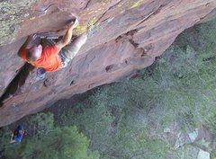 Rock Climbing Photo: Aaron moving through the crux.