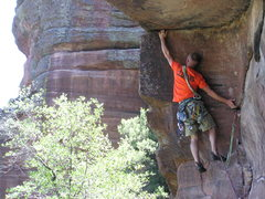 Rock Climbing Photo: Aaron on the FA. Before there were bolts there wer...