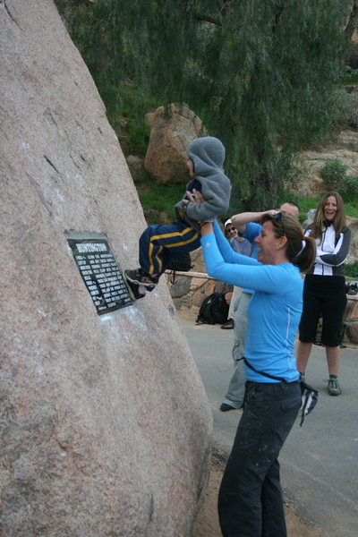 Agina giving a hand to a future climber.