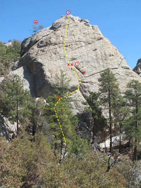 Rock Climbing Photo: Rough topo of the Standard Route.  An all-gear anc...