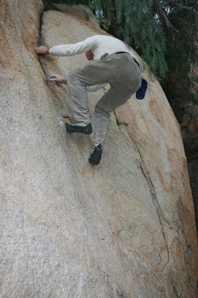 Kenn Kenaga on the Pepper Tree Crack.