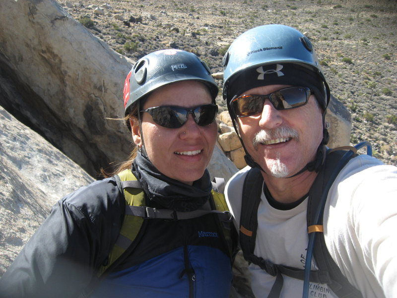 Agina and I at the 1st belay, Walk on the Wild Side.