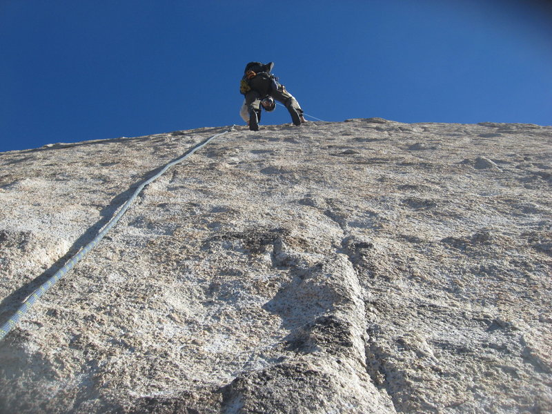 Rock Climbing Photo: Me starting up the 2nd pitch of Walk on the Wild S...