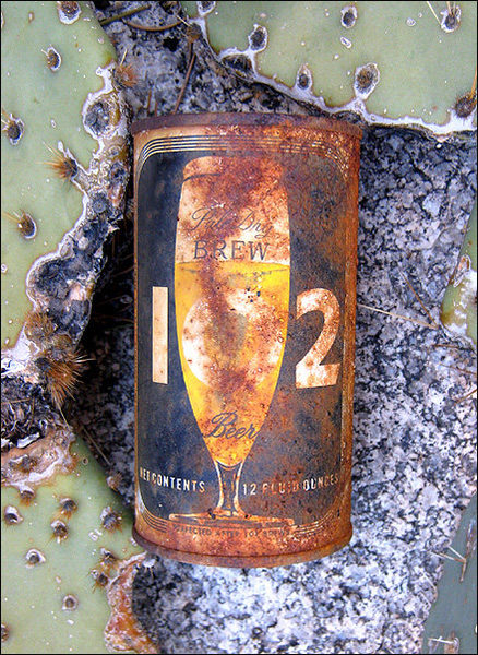 Artifact or litter? I came across this in the wonderland. This can is almost 40 years old. Pretty good shape for being out there that long.<br> Photo by Blitzo.