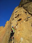 Rock Climbing Photo: Tina starting up the P1 buckets.