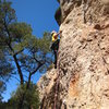 Setting up for the thin crux.