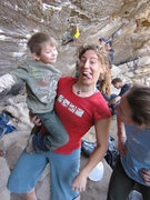 Rock Climbing Photo: Lucas, Rachel and Jessica try not to make a scene ...