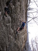 Rock Climbing Photo: Entering the crux boulder problem (about V7) on Sw...