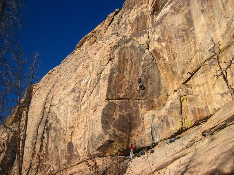 Rock Climbing Photo: Enter the land of steep jugs.  On trad.