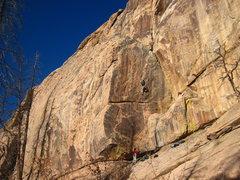 Rock Climbing Photo: Enter the land of steep jugs.  On trad.