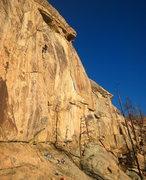 Rock Climbing Photo: Working the arete proper.