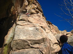 Rock Climbing Photo: Tina nearing the anchors (up and to the right of h...