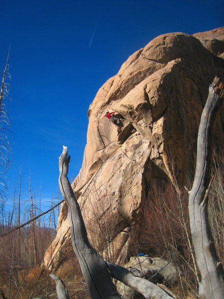 We found this overhanging hand traverse to be the crux of the route.