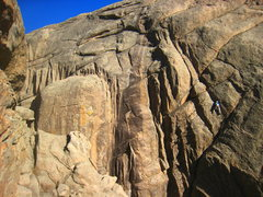 Rock Climbing Photo: Exiting the traversing, wide crack while heading u...