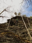 Rock Climbing Photo: Tim post crux.