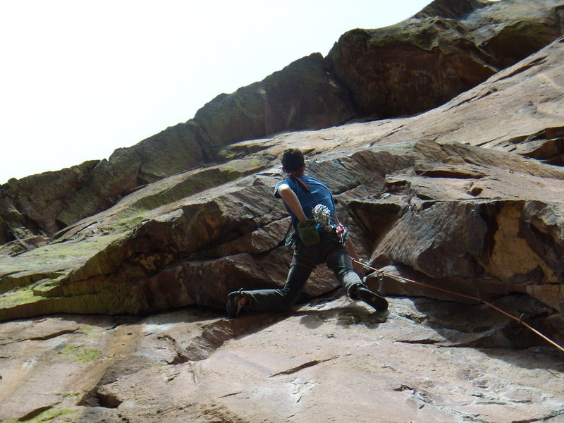 Rock Climbing Photo: Jordon on Genesis.  Eldo March 2011.