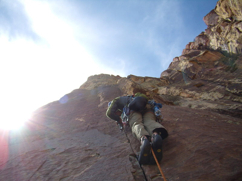 Rock Climbing Photo: Jordon on Sugar 5.10 a - Ginger Cracks Buttress Re...