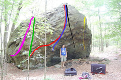 Rock Climbing Photo: Purple: God's Own Hold (V2) Green: The Easy Way Ou...