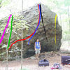 Purple: God's Own Hold (V2)<br> Green: The Easy Way Out (V1)<br> Red: Something in the Eye of the Beholder (V7)<br> Blue: Frankenstein's Lab (V6)<br> Black: Project<br> Yellow: Tree Hugger (V3)