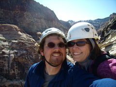 Rock Climbing Photo: Jenna and I - top of Cat in the Hat.  March 27th 2...