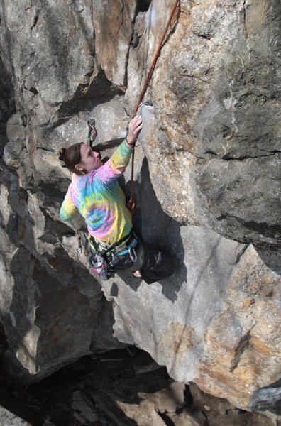 the crux is reachy for shorties.... nicole, making it work