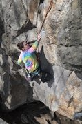 Rock Climbing Photo: the crux is reachy for shorties.... nicole, making...