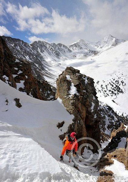 "Ben Marshall about midway up the ""No Name Couloir"" on McClellan Mountain."