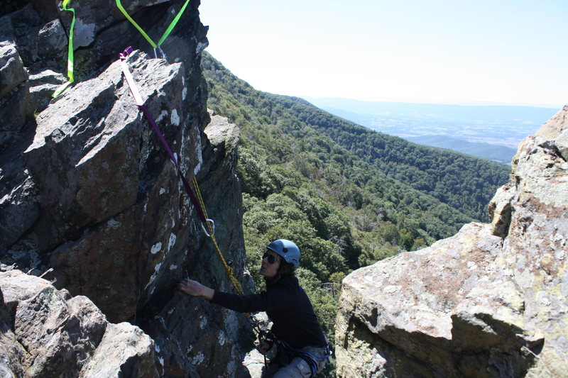 rappelling after double checking anchors