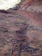 Rock Climbing Photo: Looking down p4 (last), 9-25-09,