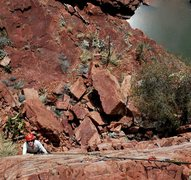 Rock Climbing Photo: Gail and I walked along the canyon bottom to the N...