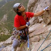 Rock Climbing Photo: Swinging pitches high up on the first ascent of &q...
