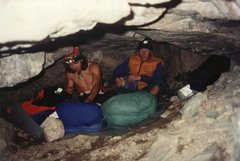 Rock Climbing Photo: Bivy cave - Mt. Lady Washington The night before t...
