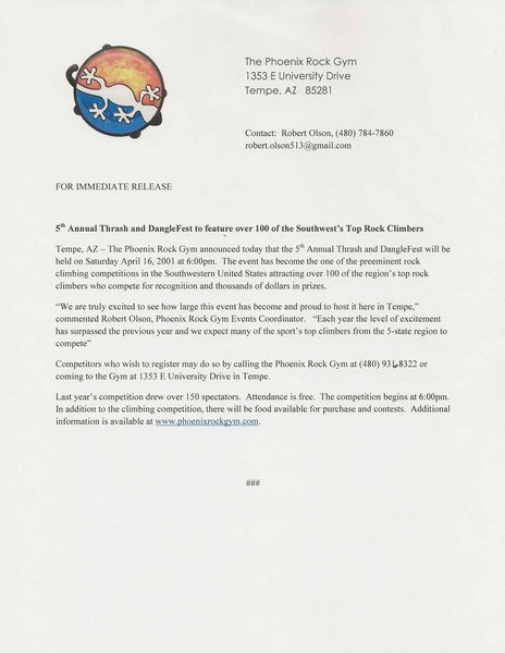 Official Press release for Thrash and Dangle Fest 2011!!