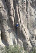 Rock Climbing Photo: At the second crux on the redpoint of Bendix Claws...