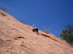 Rock Climbing Photo: Jackie near top of El Sol.