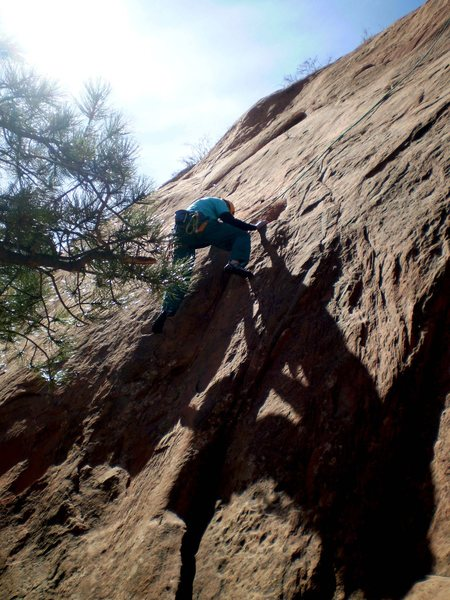 Rock Climbing Photo: 5.9 TR variation L of Helios.  Photo:  Leo Paik.