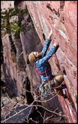 Rock Climbing Photo: Matt comes to terms with this pumpy number. Photo:...