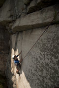 Rock Climbing Photo: working up the balancy polished crack.