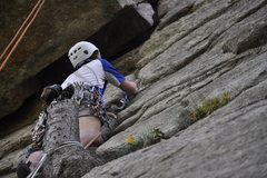 Rock Climbing Photo: Slinging some sweet pro right off the deck.