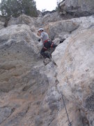 Rock Climbing Photo: Elias shaking it out and working through the secon...