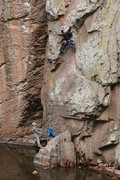 Rock Climbing Photo: It was mid 40s and Yager backflopped into the rive...