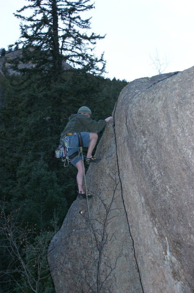 Rock Climbing Photo: Me at the top on a 11d finger crack, Cascade.