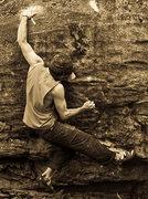 "Rock Climbing Photo: Aaron James Parlier on ""Domino"" (V7)"