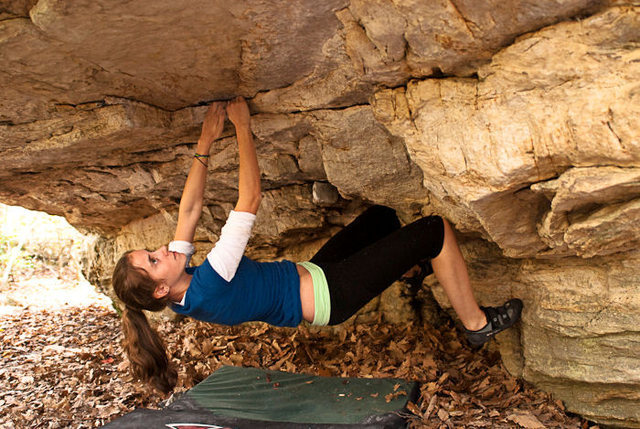 "Rock Climbing Photo: Sarene Cullen pulling under the ""Warm Up Roof..."