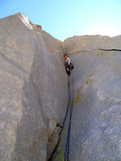 Rock Climbing Photo: Leading the start of the sweet pitch 2 corner.  Se...
