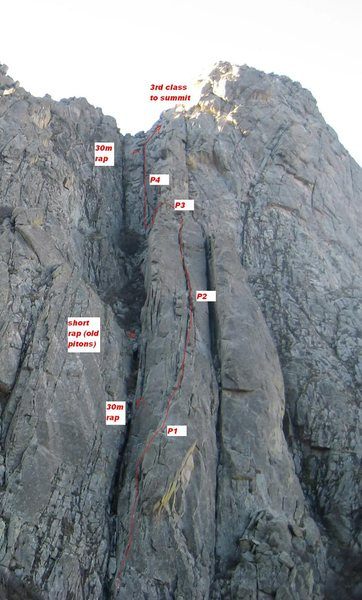 Topo showing Orgy on the East Buttress of ORP